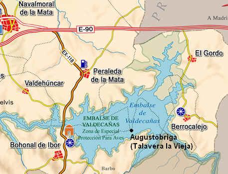 Posicion de Talavera la Vieja bajo el actual Pantano de Valdecañas. Fuente: http://www.santotomasdeaquinomontijo.es/miWeb2/talavera_la_vieja.htm