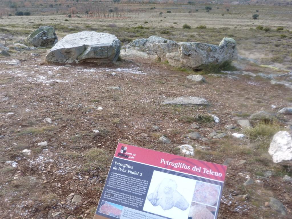 Carteles que señalizan los petroglifos (rocas del fondo).