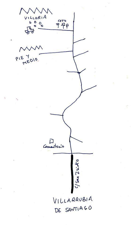 Croquis de localizacion del Despoblado de Villoria. (Fuente: Antonio Martin).